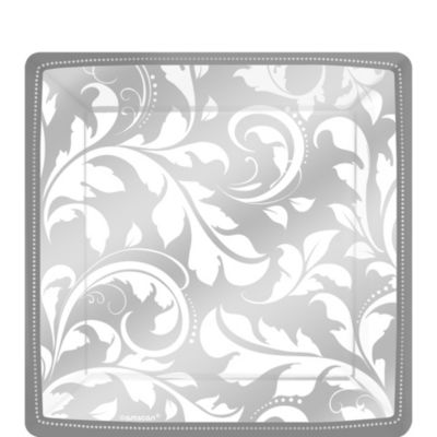 Silver Wedding Dessert Plates 8ct