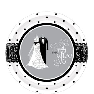 Black & White Wedding Dessert Plates 8ct