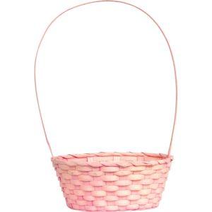 Pink Round Bamboo Easter Basket
