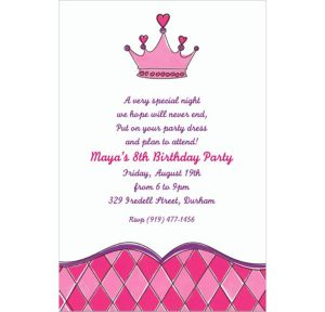 Custom Birthday Princess Crown Invitations