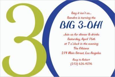 Custom Great Big 30th Invitations