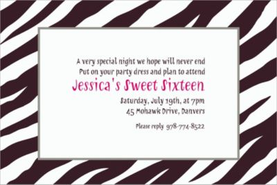 Custom Zebra Invitations