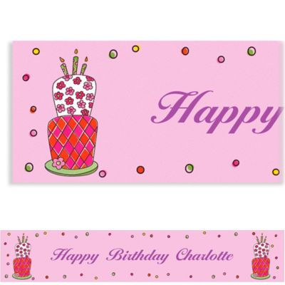 Custom Lovely Birthday Cake Banner 6ft