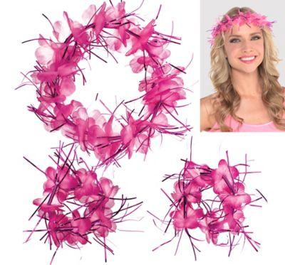 Pink Tinsel Head & Wrist Lei Set 3pc