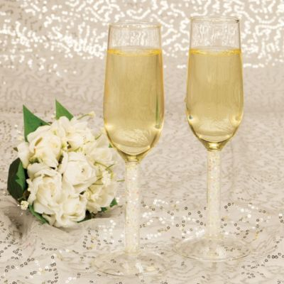 Clear Gem Wedding Toasting Glasses