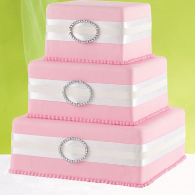 White Rhinestone Ribbon & Buckle Cake Decoration 65in