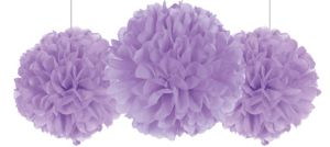 Rounded Lilac Fluffy Decorations 3ct