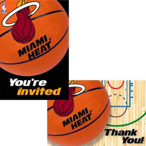 Miami Heat Invitations & Thank You Notes for 8