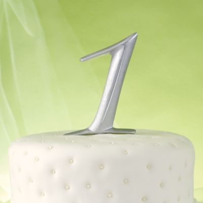 Silver Number 1 Cake Topper