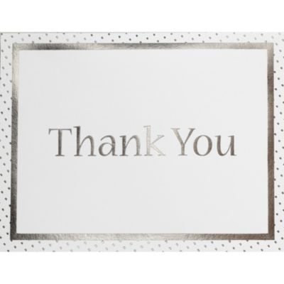 Silver Dots Printable Thank You Notes 50ct