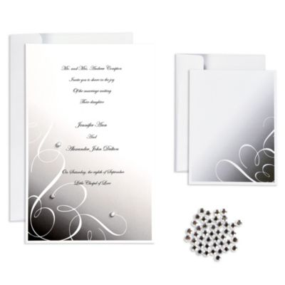 Black Rhinestone Swirl Printable Wedding Invitations Kit 25ct