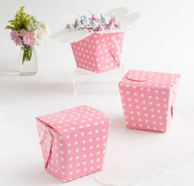 Polka Dot Pink Baby Shower Favor Pails 12ct