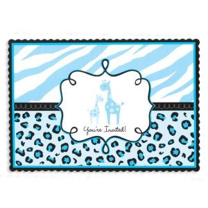 Blue Safari Baby Shower Invitations 20ct