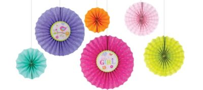 Tweet Baby Girl Paper Fan Decorations 6ct