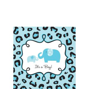 Blue Safari Baby Shower Beverage Napkins 36ct