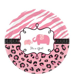 Pink Safari Baby Shower Dessert Plates 18ct