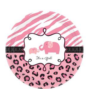 Pink Safari Baby Shower Dessert Plates 18ct
