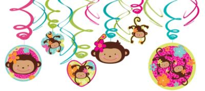 Monkey Love Swirl Decorations 12ct