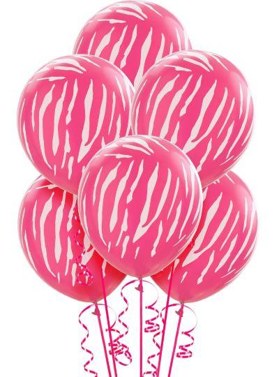 Pink Zebra Balloons 6ct
