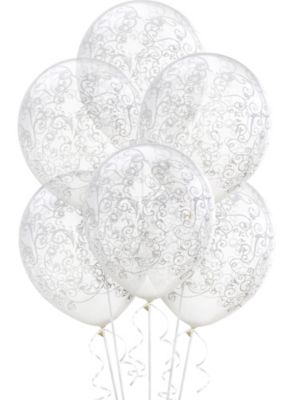clear filigree balloons 6ct party city 100 Birthday Party Decorations