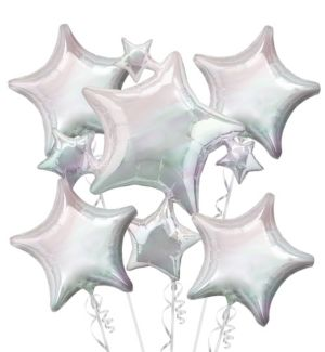Iridescent Stars Balloon Bouquet 5pc