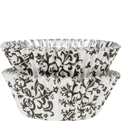 Black Damask Foil Baking Cups 36ct