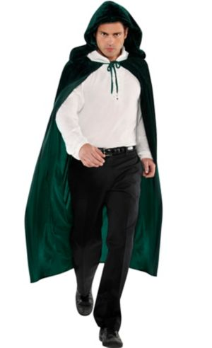 Adult Forest Green Hooded Cape