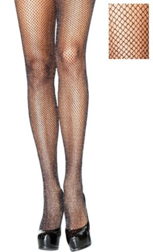 Black Glitter Fishnet Pantyhose For Adults Party City