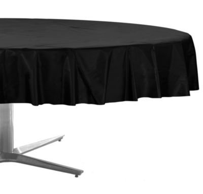 Black Plastic Round Table Cover