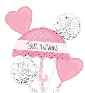 Umbrella Best Wishes Balloon Bouquet 5pc