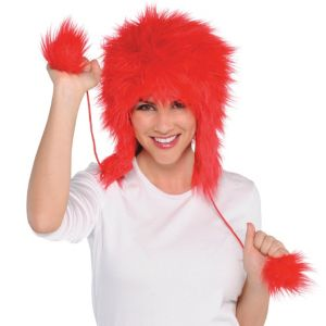 Red Fuzzy Peruvian Hat