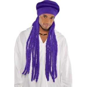Purple Dreadlock Wig with Hat