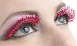 Self-Adhesive Pink Tinsel False Eyelashes