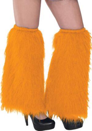 Orange Furry Leg Warmers