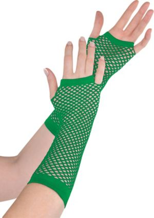 Long Green Fishnet Gloves Deluxe