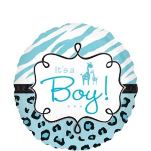 Baby Shower Balloon - Blue Wild Safari It's a Boy