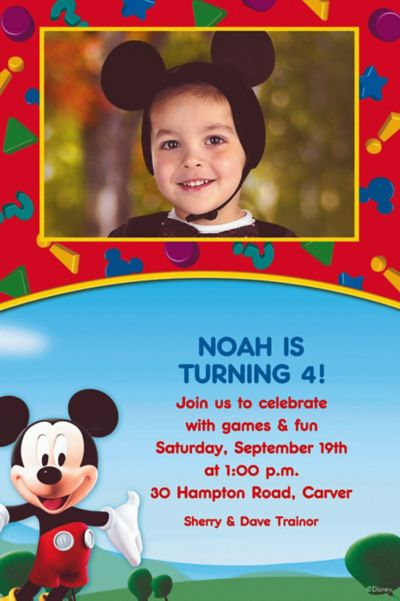 Custom Mickey Mouse Clubhouse Photo Invitations