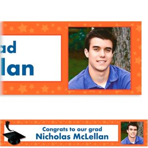 Custom Orange Congrats Grad Photo Banner 6ft