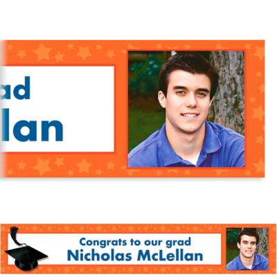 Orange Congrats Grad Custom Photo Banner
