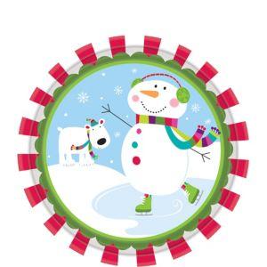 Joyful Snowman Dessert Plates 8ct