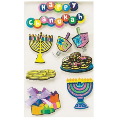 Hanukkah 3D Stickers 7ct