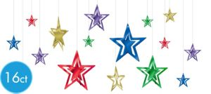 3D Colorful Star Decorations 16ct