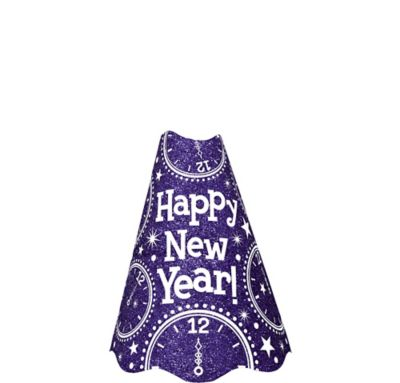Glitter Purple New Year's Cone Hat
