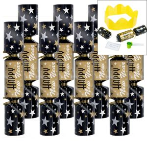 Black, Gold & Silver New Year's Crackers 8ct