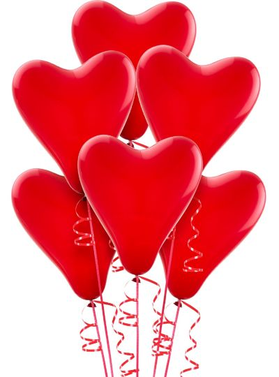 Red Heart Balloons 6ct Party City