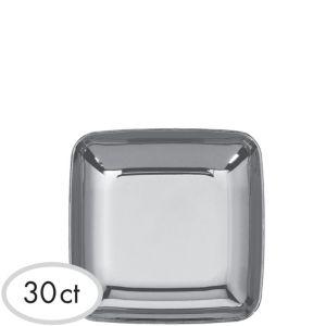 Mini Silver Plastic Plates 30ct