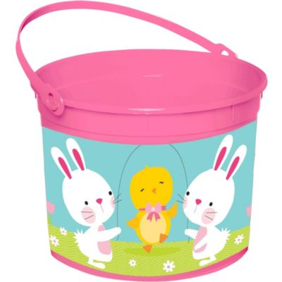 Plastic Pink Easter Bucket