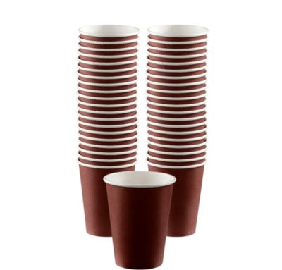 BOGO Chocolate Brown Paper Coffee Cups 12oz 40ct