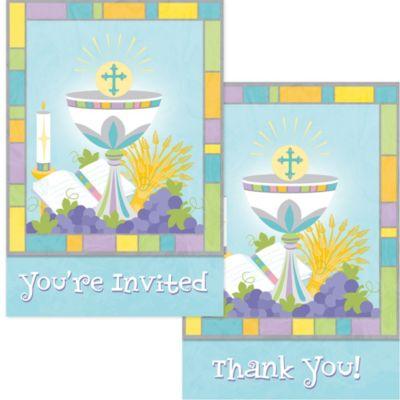 Joyous Communion Invitation & Thank You Note Set for 10