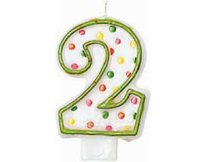 Green Outline Number 2 Birthday Candle